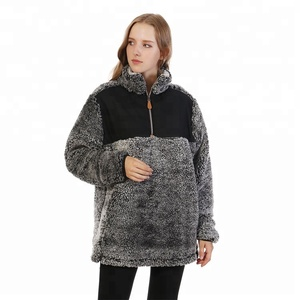 Plus Size Women Clothing Youth Quarter Zip Knitted Sherpa Fleece True Grit Frosted Pullover Sweater Sports Winter Jacket