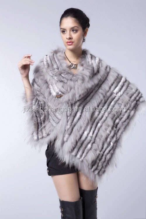 Light grey color rabbit fur cape shawl with raccoon trimming design North American Canada style fur cape