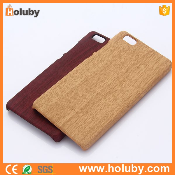 Wood Grain Leather Coated PC Hard Case for Huawei Ascend P8 Lite