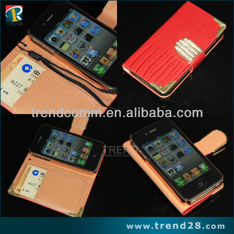 mobile phone phone cases from competitive factory credit card slot wallet leather case for iphone 4s