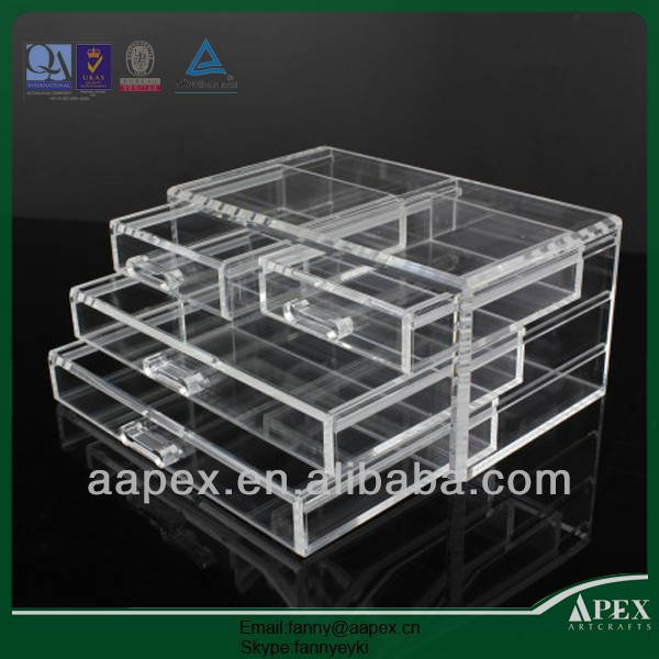 APEX hot selling 4 drawer acrylic makeup organizer/acrylic cmestic storage