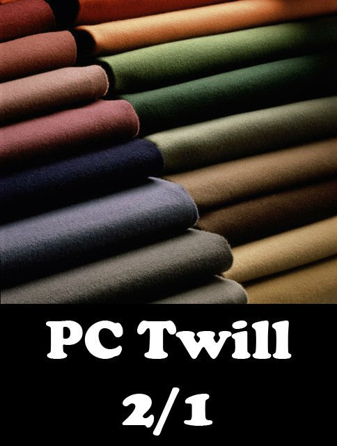 Twill 2/1 96x48 16x12 - 245 GSM - Dyed/Bleached/Printed/Greige - Any Width