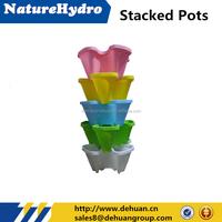 Garden decor cheap color stackable plastic flower pots