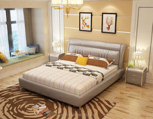 2017 model design leather bed with gas lift upholstered furniture
