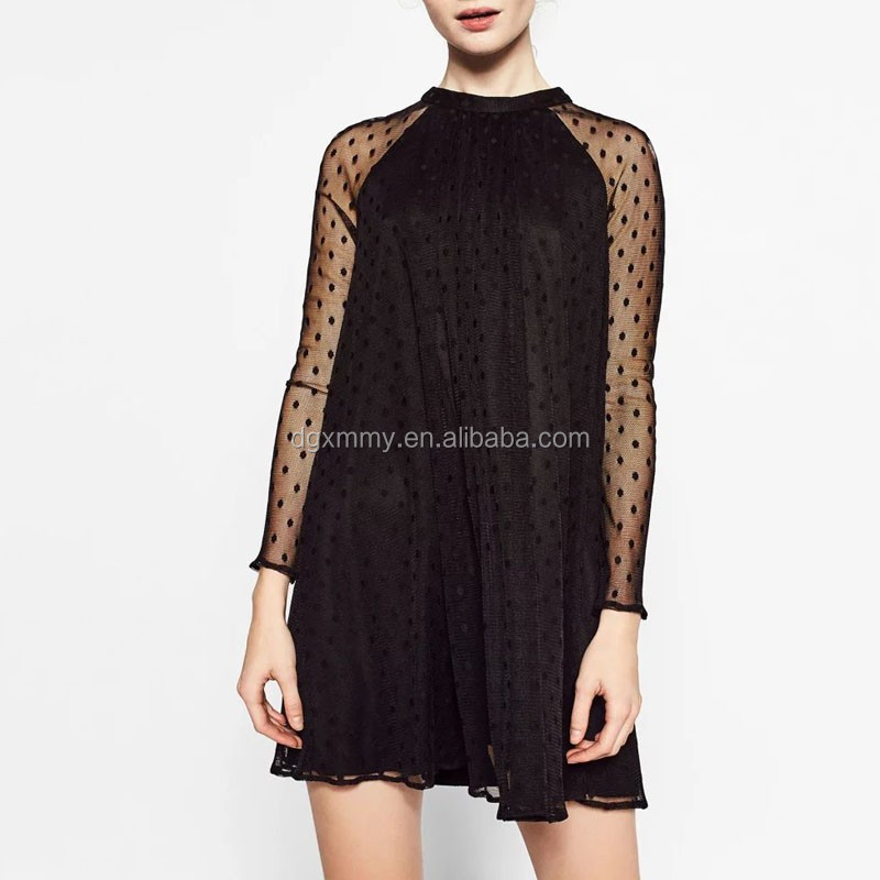 Women Sexy Black Dot Pattern Deisgn Mini Dress Mesh Back Buttons Long Sleeve Simple Casual Dress Ladies Party Dresses
