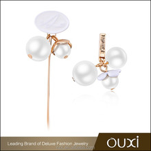 OUXI 2016 High quality wholesale price Double pearl beads girls gold earrings 21439