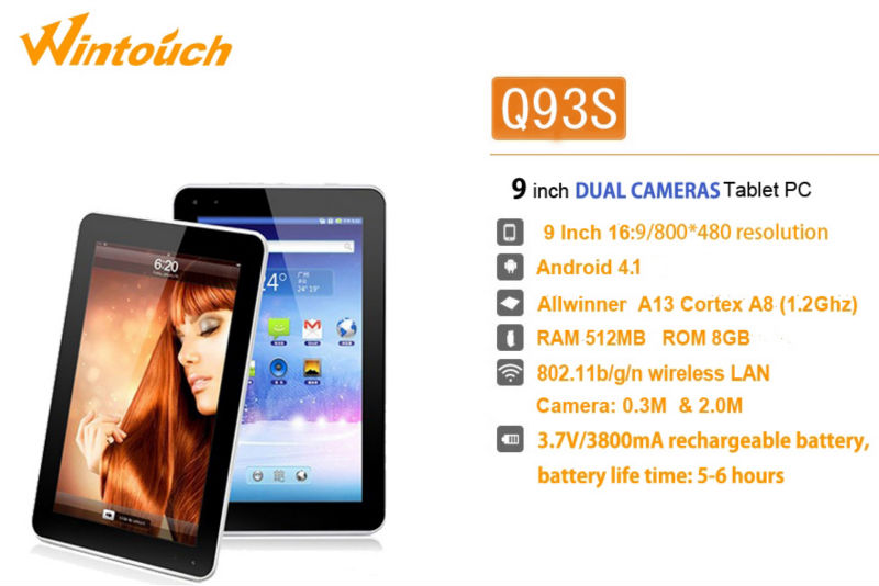 9 inch tablet pc 16:9 Android 4.1 Ram 512MB Rom 8GB extend 32GB tablet pc with front and back camera high definition