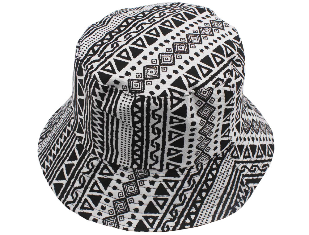 Free Shipping 2015 New Fashion Unisex Women Mens Summer Black And White Geometric Aztec  Printed Bucket Hats