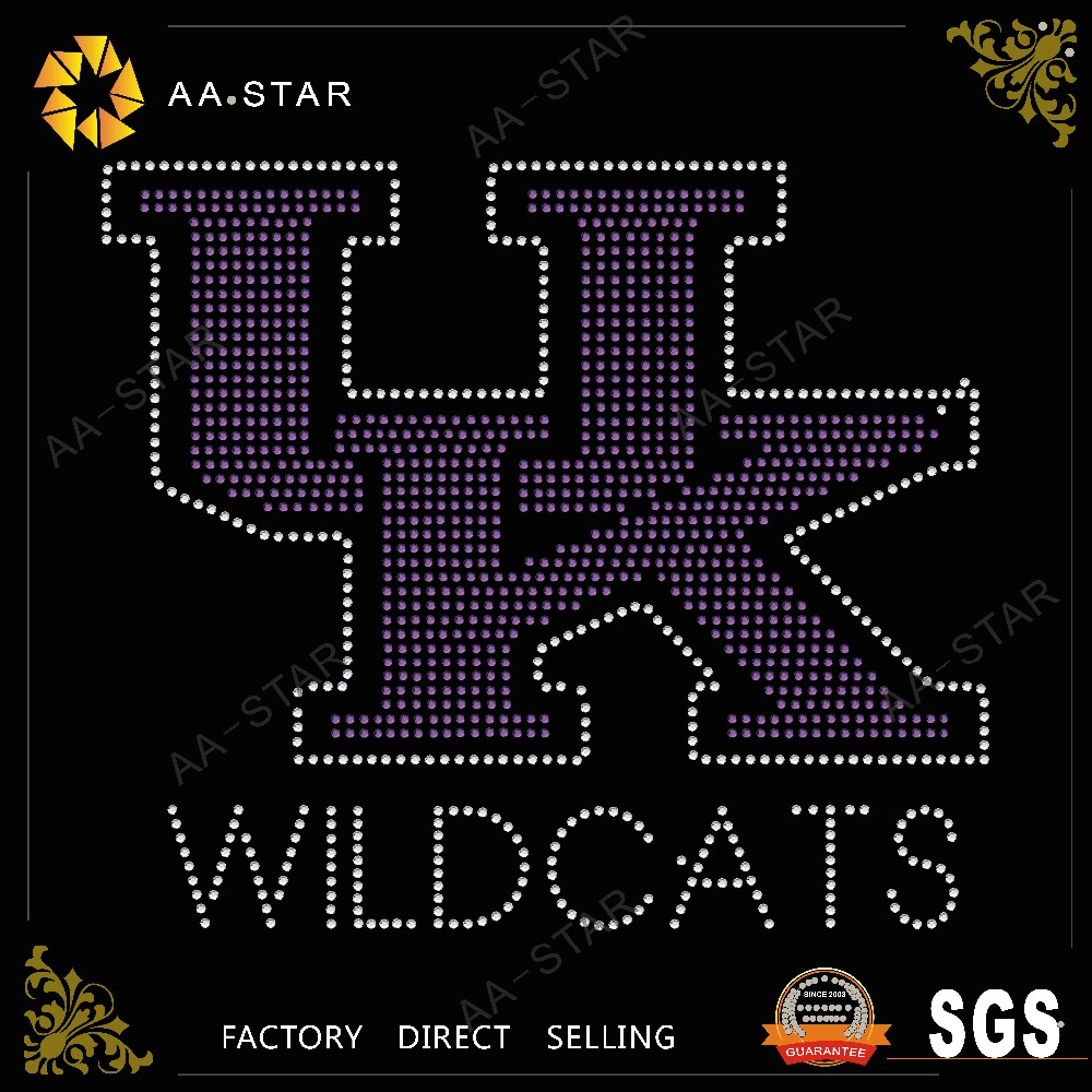 UK WILDCATS letters design crystal flatback rhinestone for T-shirt