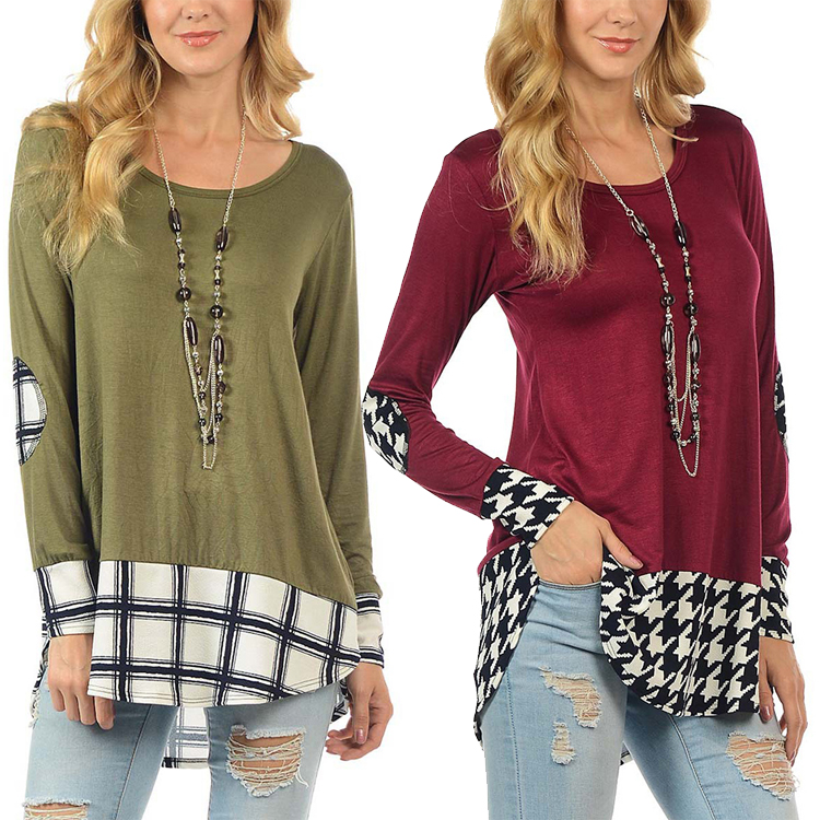 Free Sample Spring Green Plaid Long Sleeve Blouse Fashion Women Top