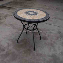 Iron round ceramic top table for outdoor patio furniture
