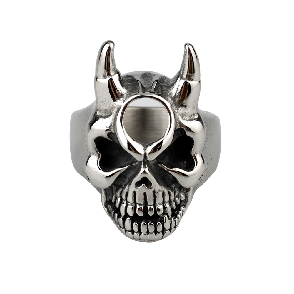 New Design Expendables Cross Devil Rings Wholesale Stainless Steel Skull Ring