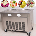 Wholesaler Double Pans Double Compressors Cold Stone Marble Slab Top Fry Ice Cream Machine