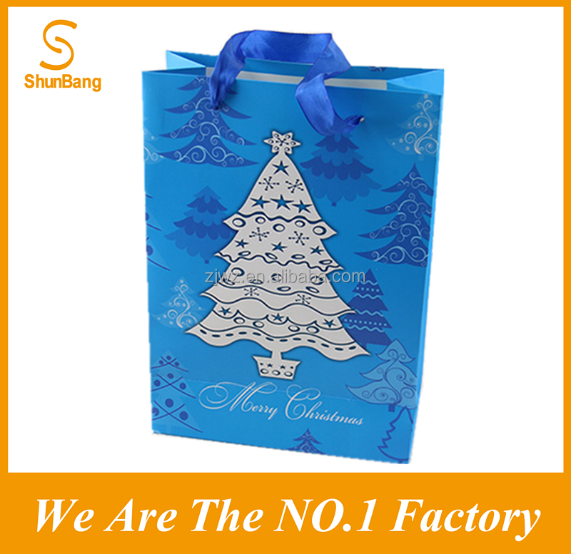 2016 Christmas Gift Paper Bag with Cotton Ribbon Handle