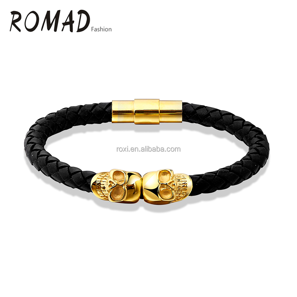 Punk style Men Ghost bracelet Gold Plated Skull Leather Women Bracelet <strong>Jewelry</strong>