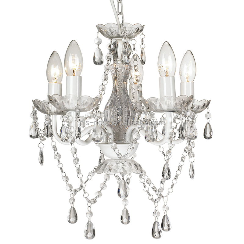 Traditional Marie 5 Light White Crystal Chandelier for Bedroom and Weddings NS-120148W-1