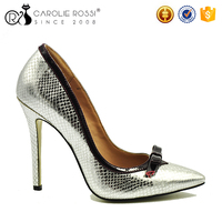 bow decoration silver sexy high heels
