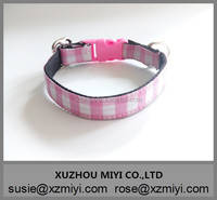 Wholesale Pink Plaid Cat Collars with Small Bell Dog Collars