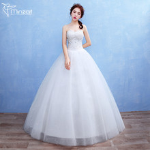 Minzart WD-DZ 0164 Hot design Vestidos De Novia Party Dresses Lace Appliqued Ruffle Floor Length White Wedding Dresses