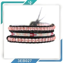2016 Customized Round Watermelon Peal Beads&Japanese Seed Bead Genuine Leather Bracelet Wedding Guest Bracelets