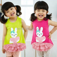 140151rabbit cotton girl clothing baby dress