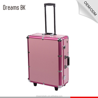 Beautiful professional elegant design salon station makeup mirror lighted cosmetic case pink makeup case with light