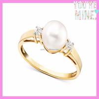2015 fashion wedding jewelry design 14k gold pearl ring