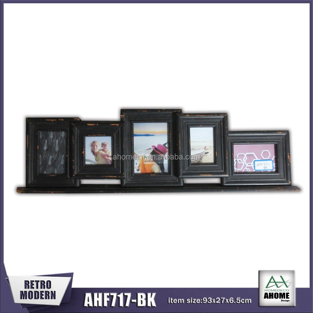 Table Collage Wooden Photo Frame Antique Black Color With 5 Picture