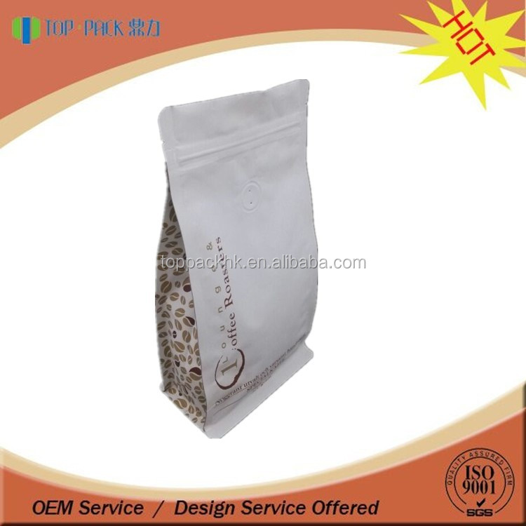 OEM Plastic ziplock flat bottom coffee bag with valve
