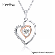 2017New Arrival Customize Crystals From Swarovski Necklace Genuine 925 Silver Double Heart Pendant for Women