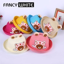 Cartoon styles decorative colorful summer beach small children straw hats