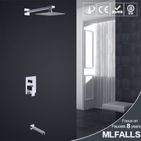 Modern style concealed shower mixer faucets chrome finished brass bathroom tap with rainfall ceiling head