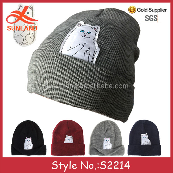 S2214 hot sale cute custom patch cartoon cat characters beanies middle finger winter hats