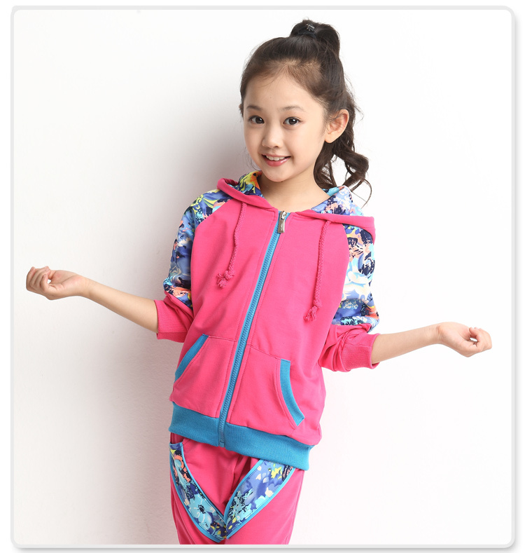 2015 New Hot Sale Fashion Children's Clothing Sets Female Spring & Autumn Sports Girl Casual Child Kids Clothes Suits