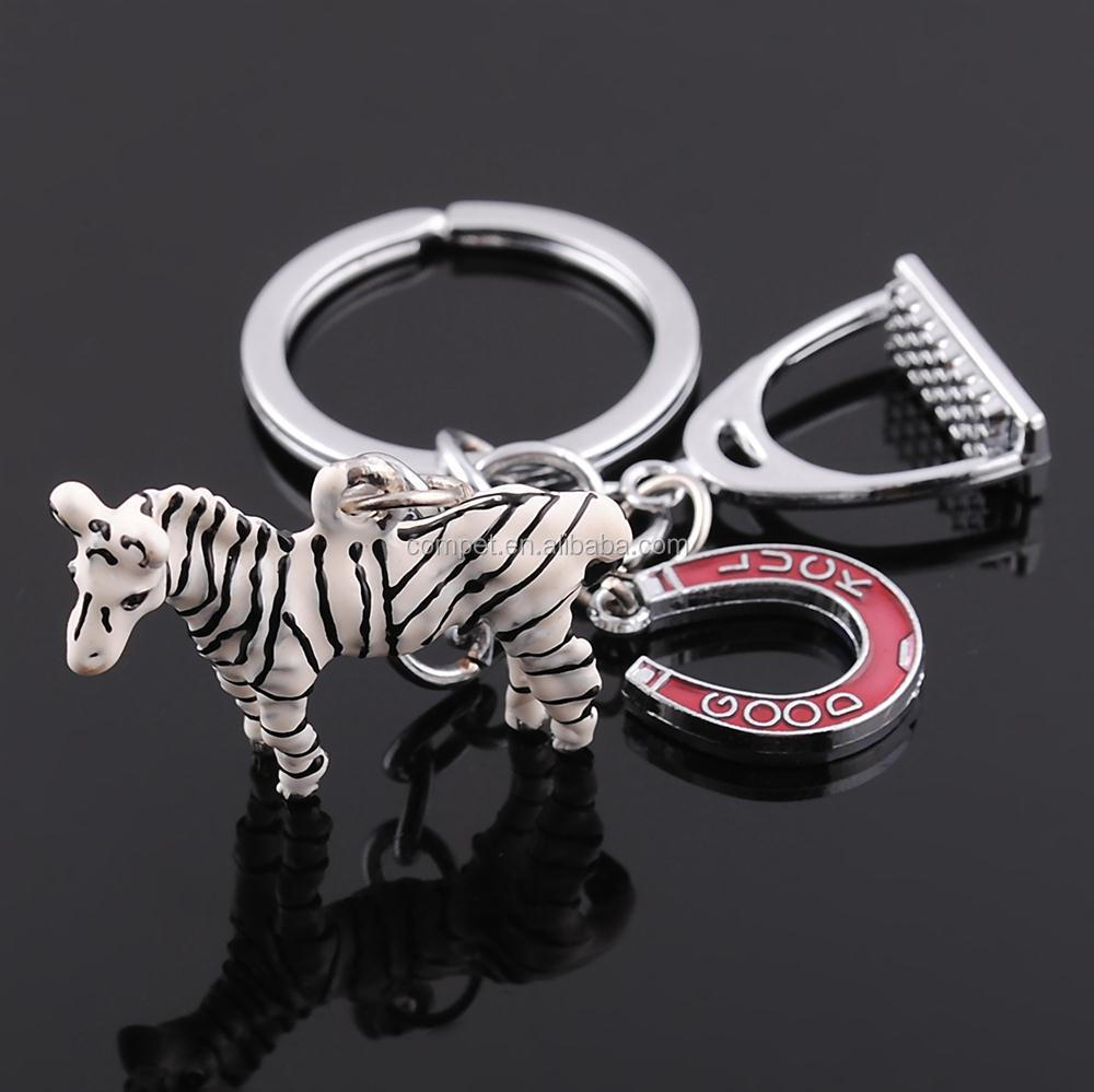 Pet drop key chain wholesale low price key ring Zebra keychain