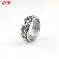 Unique And Cheap Wholesale Men Stainless Steel Ring Jewelry Attached Chain