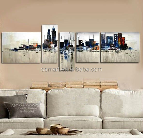 best seller abstract paintings city oil painting Wallpaper decorative pictures for living room oil painting for kids room