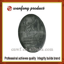 high quality aluminium alloy ancient metal wine label with self-adhesive stick backside