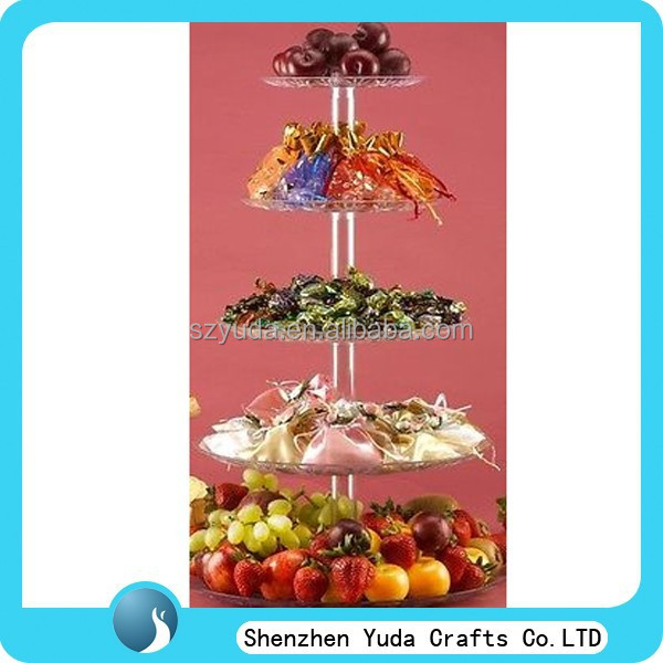 decorative brand new acrylic cake shelf stand 5-tiers store fruits cupcakes display stand exquisite acrylic cake holder hot sale