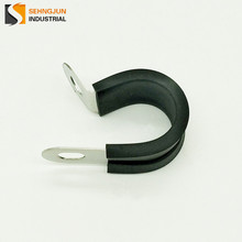 Hot selling fixing cable pipe clamps / clips / rubber cushion p shape type carbon steel tube hose clamp