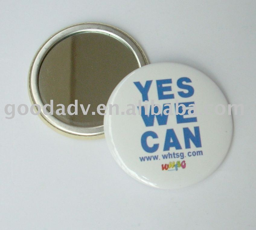 Hot sale cheap price promotion gift Full color printing logo metal pocket mirror