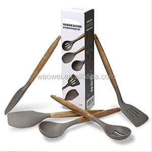 5 Piece Silicone Cooking Utensil Set with Natural Acacia Hard Wood Handle