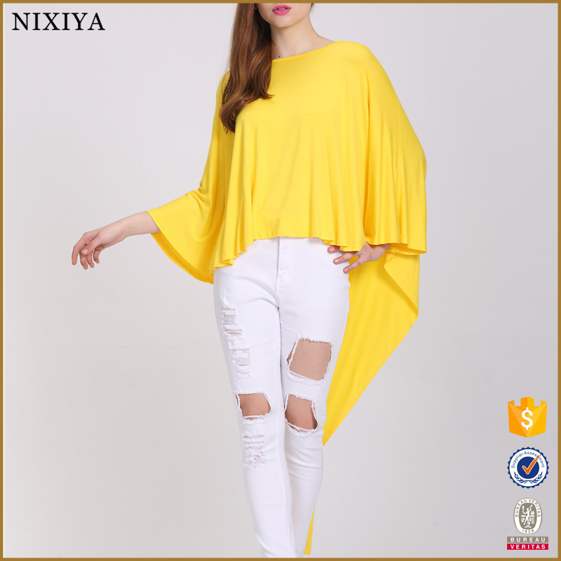 Latest Design Embroidered & Tassel Batwing Sleeve White Top For Girl