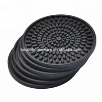 New fashion design 4.3 inch size black colour heat resistant custom silicone cup coasters