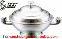 Silver Plated 8~10 Persons/10~12 Persons Hammered Dots Pattern Triratna Handles Sharkfin Soup Tureen/Sharkfin Soup Holder