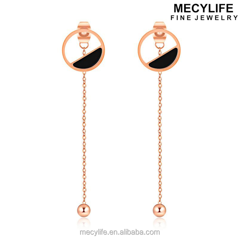 MECYLIFE Silk Thread rose gold earring Stainless Steel fashion Ball drop earrings