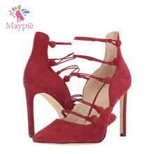 Spain Design Ladies Buckle Charm Ankle Wrap Pointy Toe Fetish Dress Pumps Red High Heel Shoes