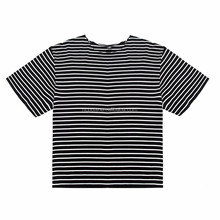 Bulk men's fashion hiphop hipster urban clothing black white Striped oversized t shirt extended cotton tee