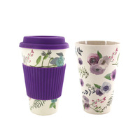 Zogift 2019 High quality 400ml travelling biodegradable mug reusable bamboo fibre coffee cup with silicone lid
