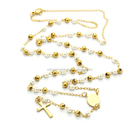 China Wholesales Christians Jewelry Gold Plated Stainless Steel Plastic Rosary Beads Christ Jesus Cross Pendant Necklace